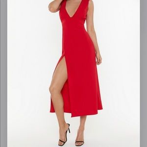 Nasty Gal red cocktail midi dress